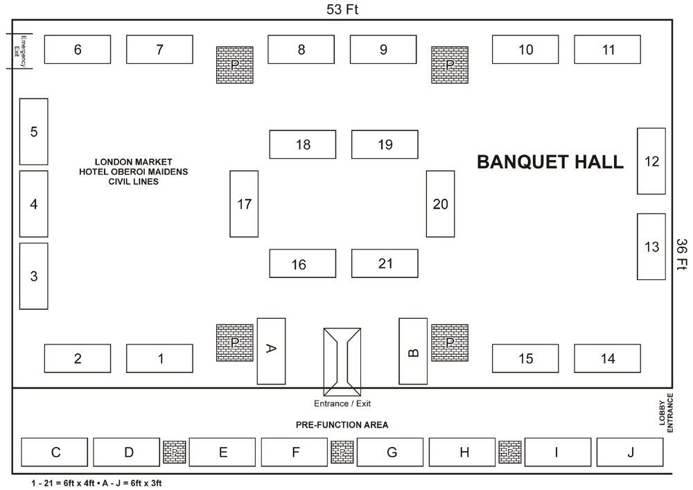 One management exhibition management luxury products for Banquet hall floor plan